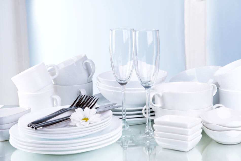 Set of clean white dishes