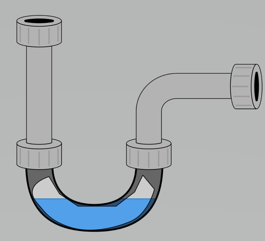 Graphic of a drain pipe under the sink