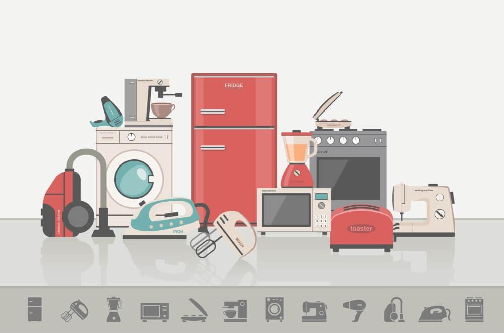 Vector diagram of kitchen appliances